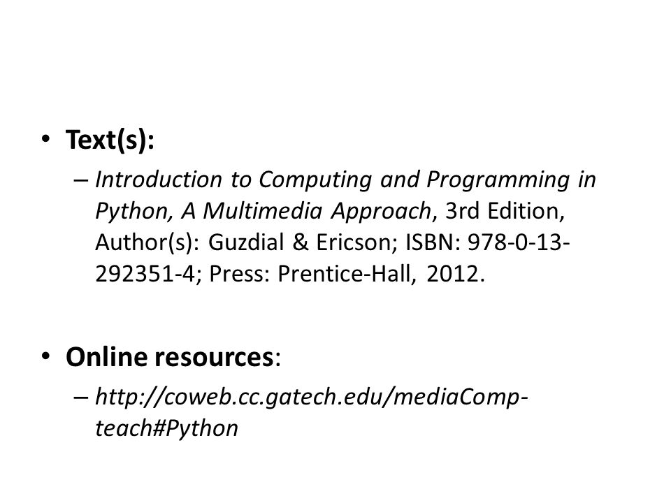 Text(s): Online resources: