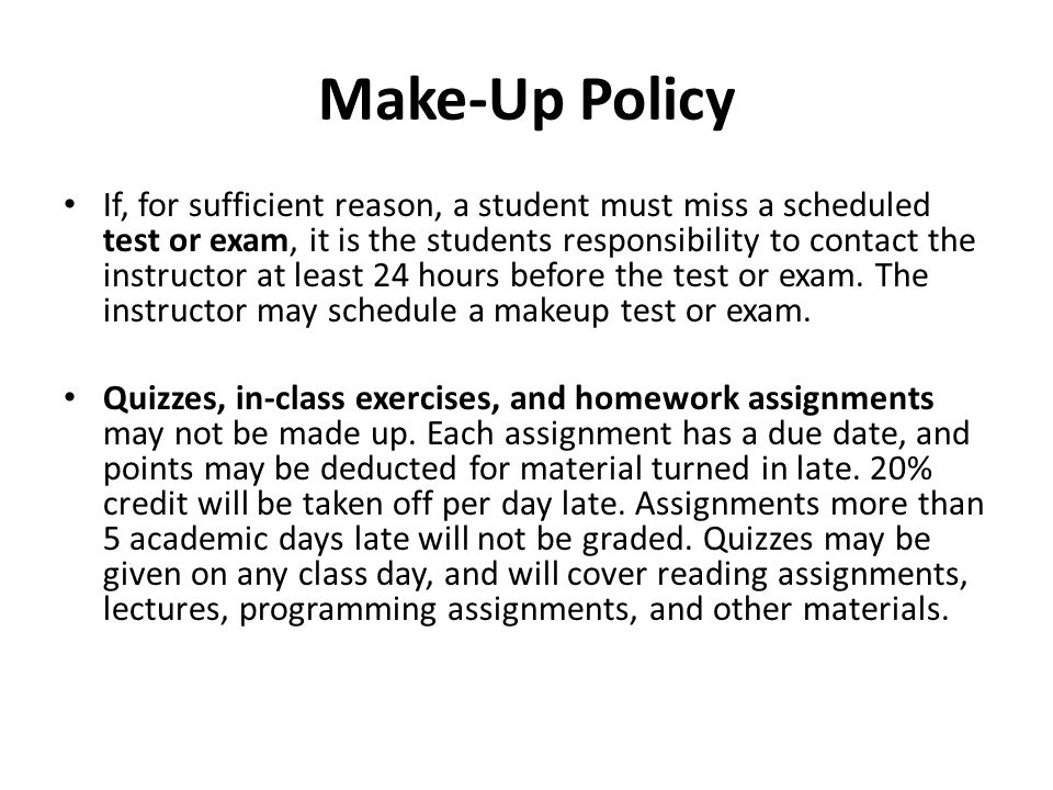 Make-Up Policy