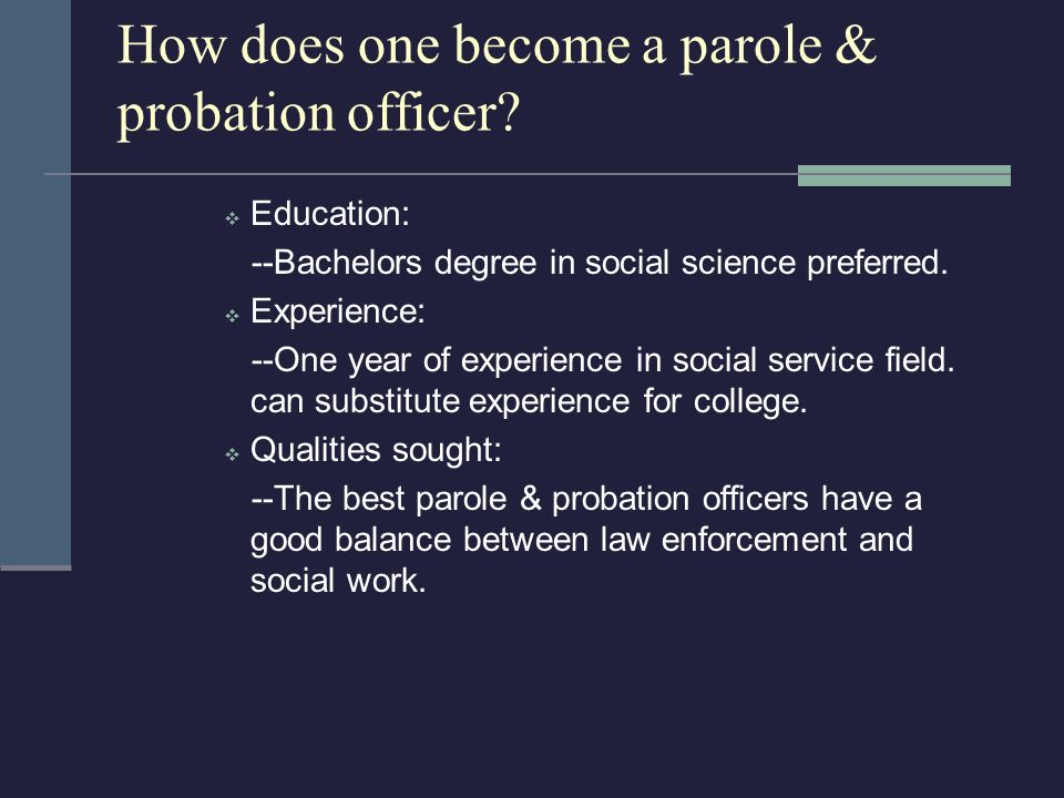 types of probation and parole essay Parole and probation are an effective means of implementing justice than prison time a study carried out in texas, found out that it costs an average the process of probation and parole has had its fair share of difficulties mainly because of population growth as the population grows so is the number of.