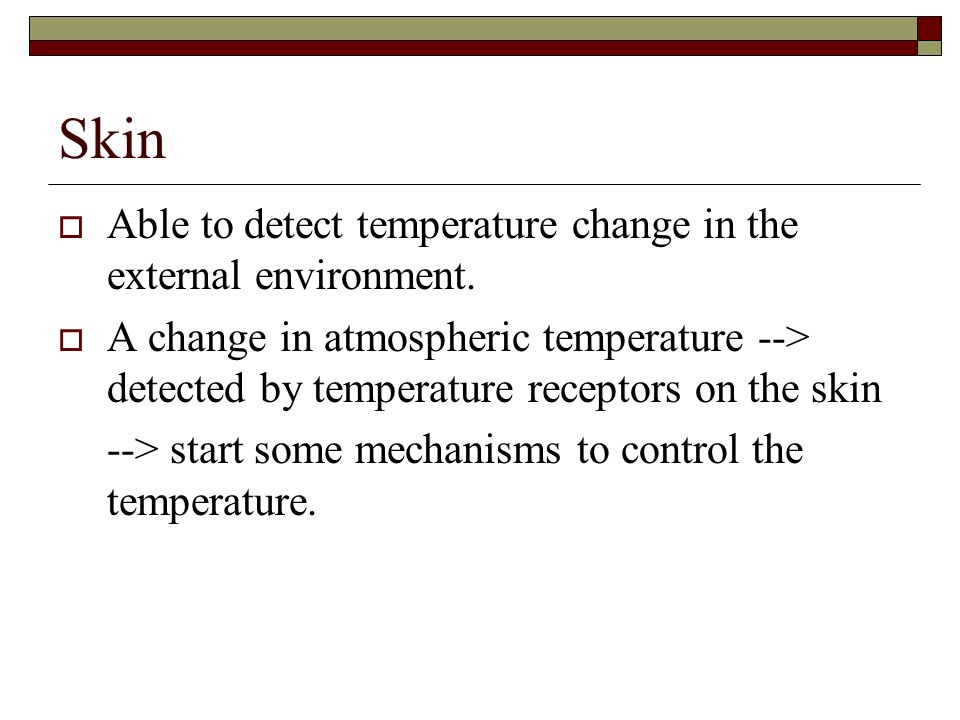 Skin Able to detect temperature change in the external environment.