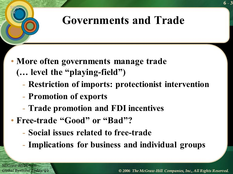 Slide 5-2 Governments and Trade. More often governments manage trade (… level the playing-field )