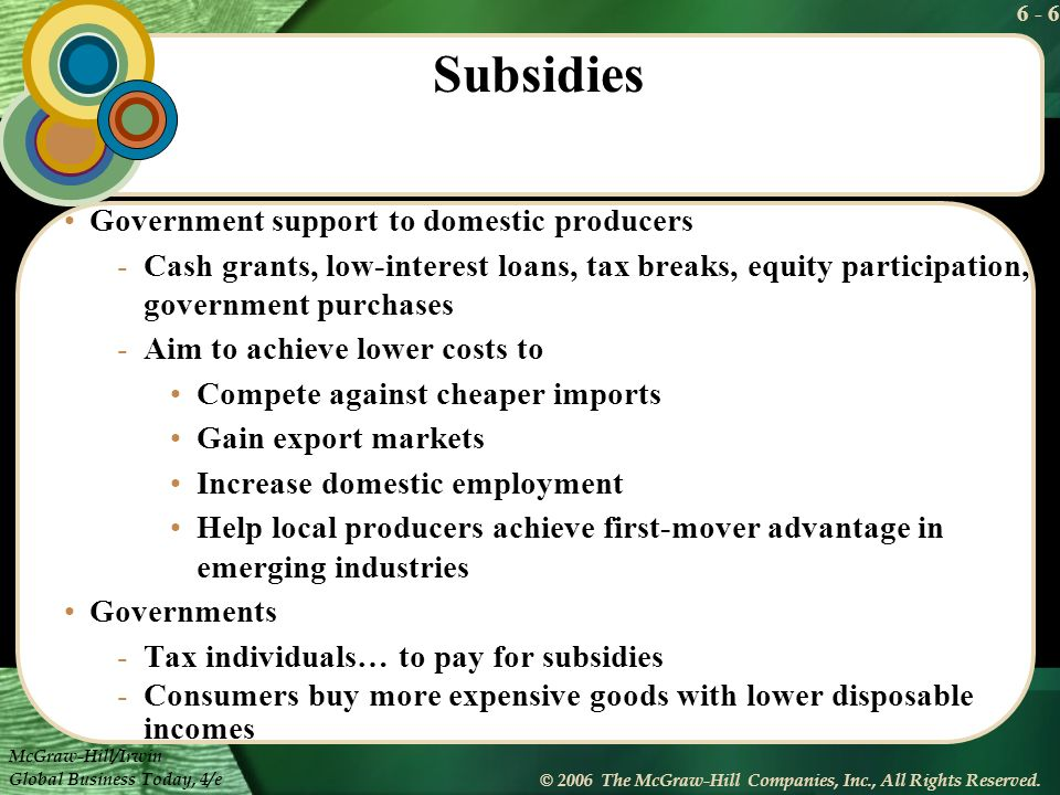 Subsidies Government support to domestic producers