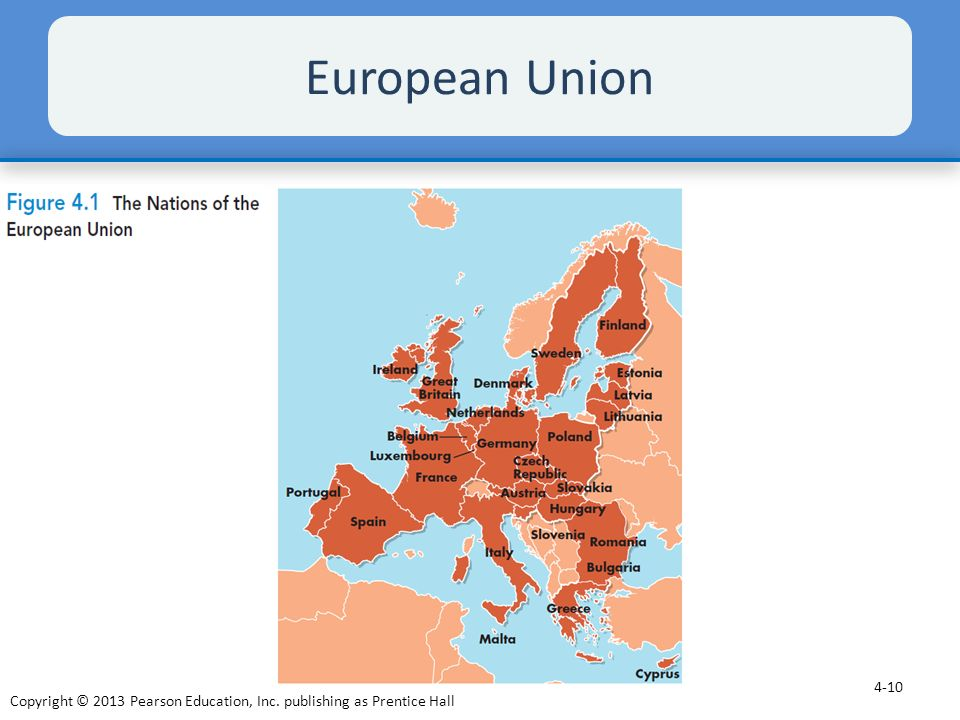 European Union The European Union (EU) includes most European nations, as shown in Figure 4.1. These nations have eliminated most quotas and.