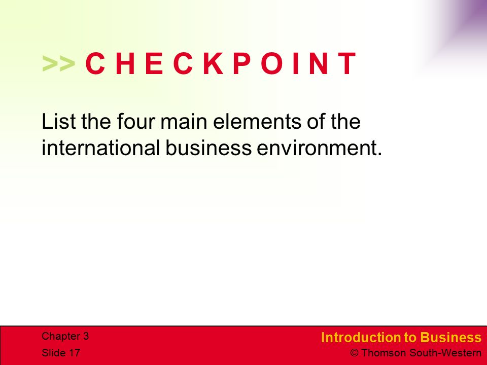 >> C H E C K P O I N T List the four main elements of the international business environment.