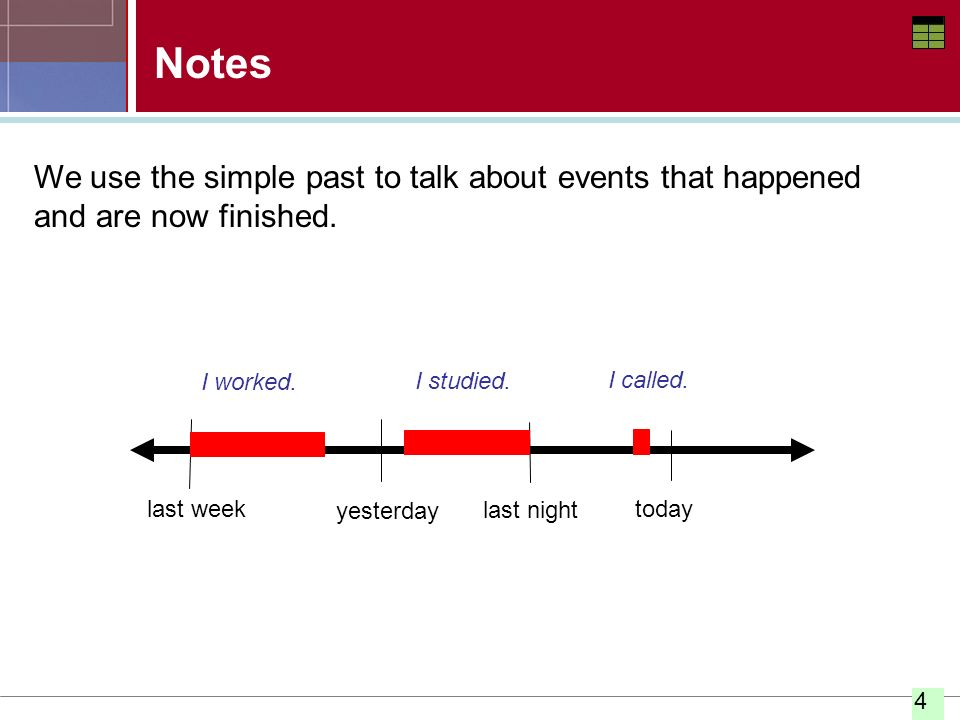 Notes We use the simple past to talk about events that happened and are now finished. I worked. I studied.