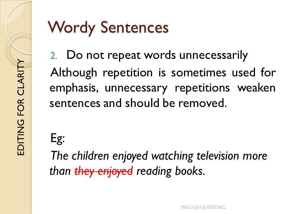 wordy sentences