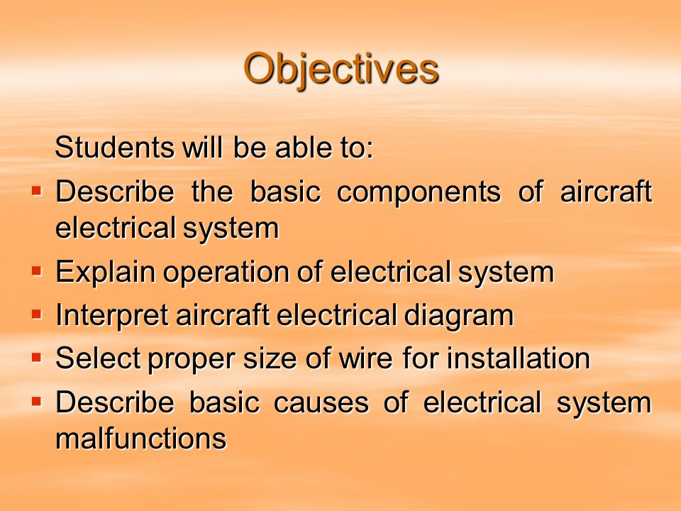 aircraft electrical systems  2 objectives
