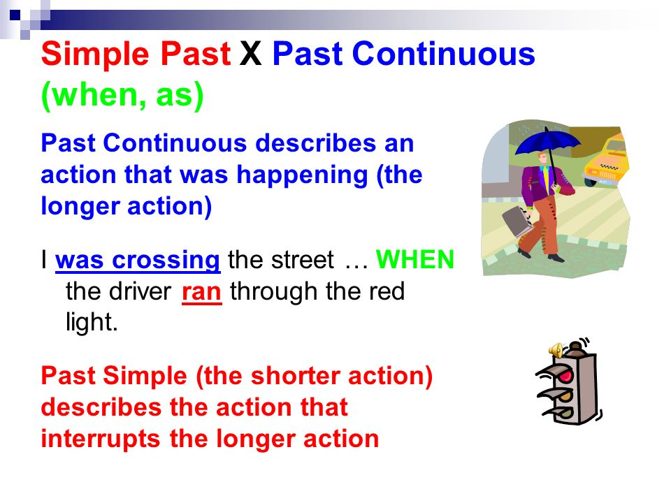 Simple Past X Past Continuous (when, as)