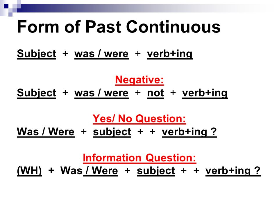 Form of Past Continuous