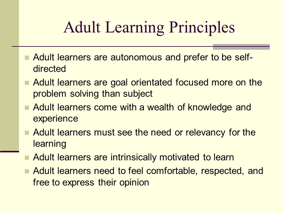 theories learning Principles adult of