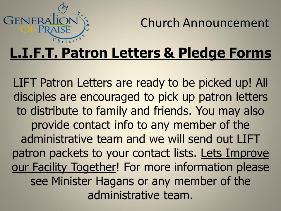 L.I.F.T. Patron Letters & Pledge Forms
