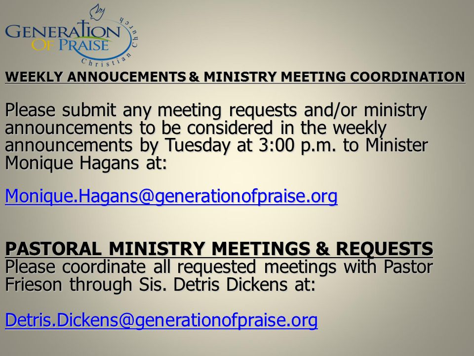 PASTORAL MINISTRY MEETINGS & REQUESTS