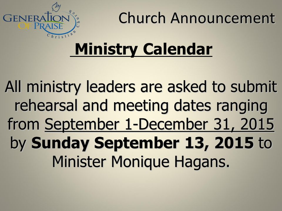 Church Announcement Ministry Calendar