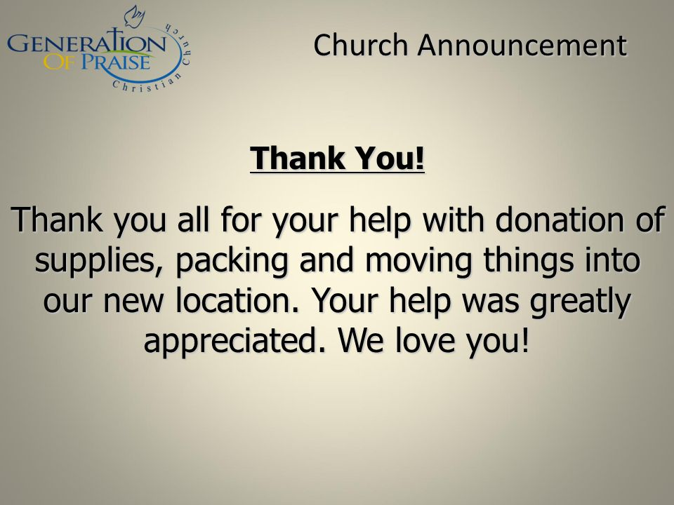 Church Announcement Thank You!