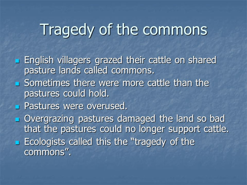 Tragedy of the commons English villagers grazed their cattle on shared pasture lands called commons.