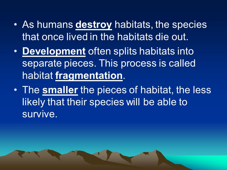 As humans destroy habitats, the species that once lived in the habitats die out.