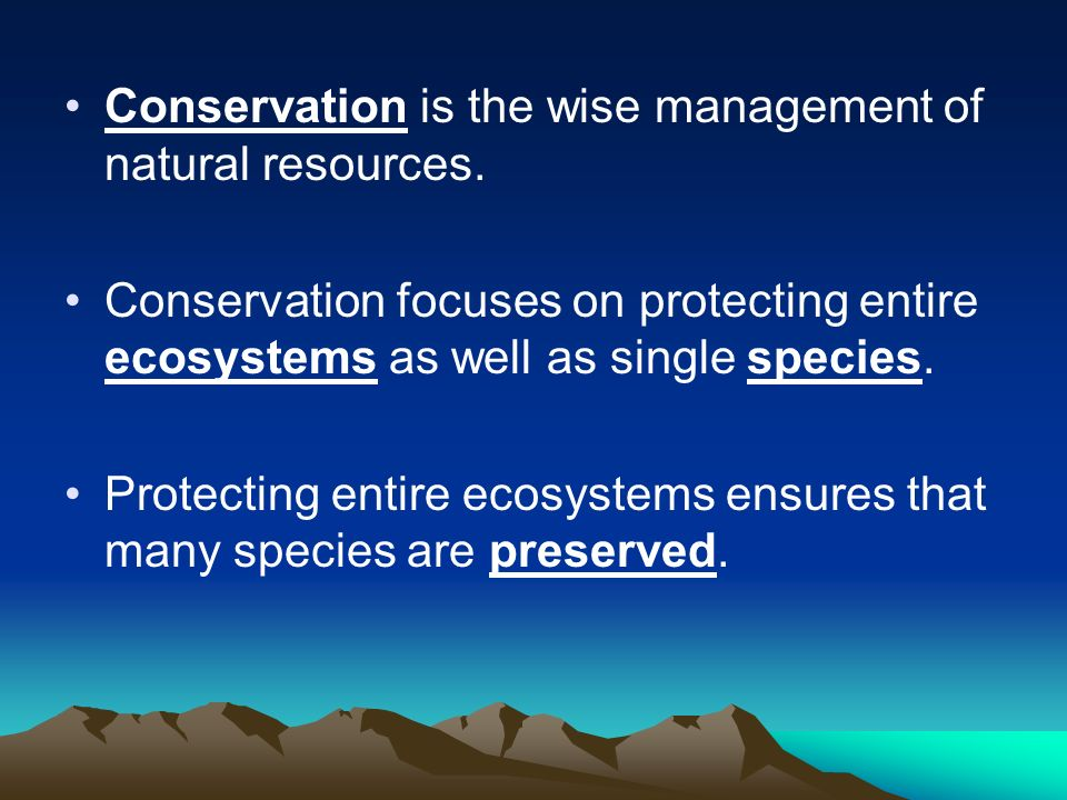 Conservation is the wise management of natural resources.