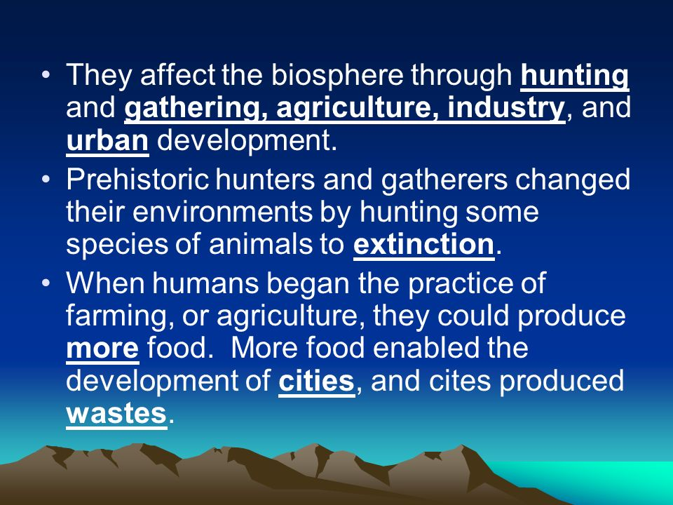 They affect the biosphere through hunting and gathering, agriculture, industry, and urban development.
