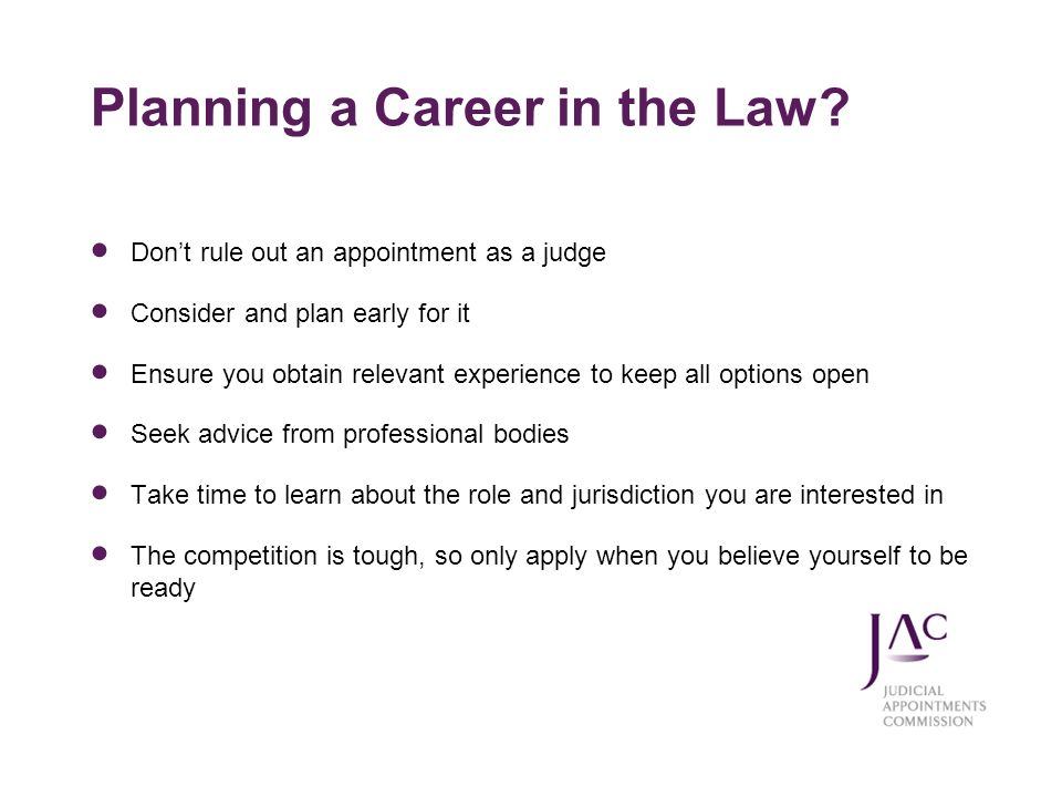 Planning a Career in the Law
