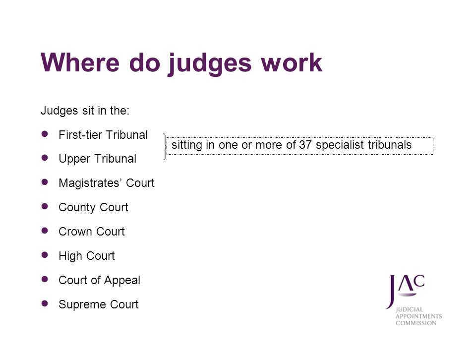 Where do judges work Judges sit in the: First-tier Tribunal