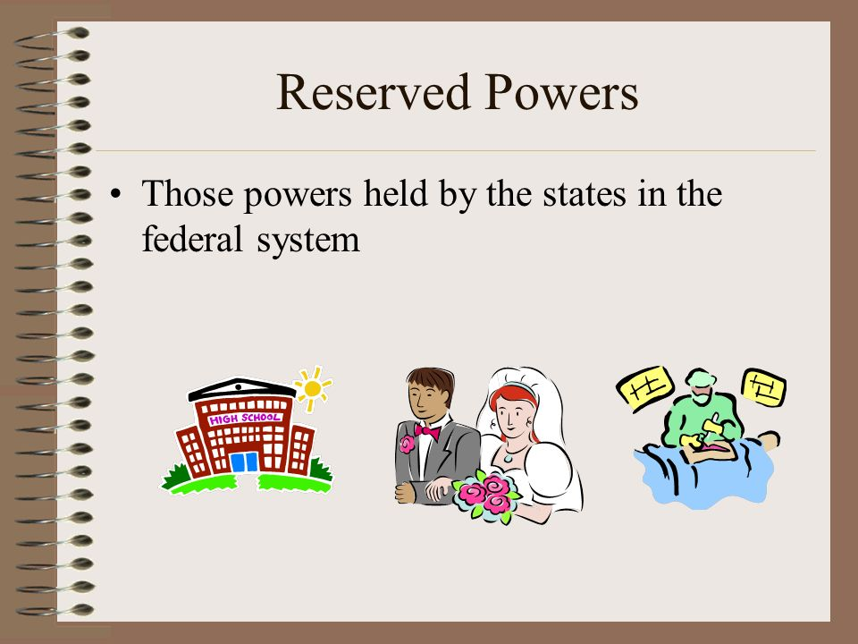 Reserved Powers Those powers held by the states in the federal system