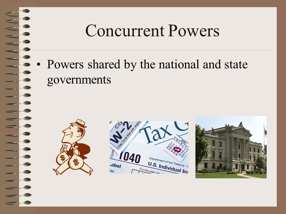Concurrent Powers Powers shared by the national and state governments