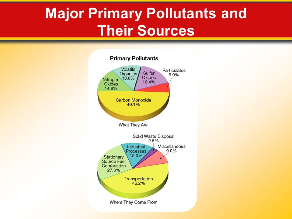 Major Primary Pollutants and Their Sources