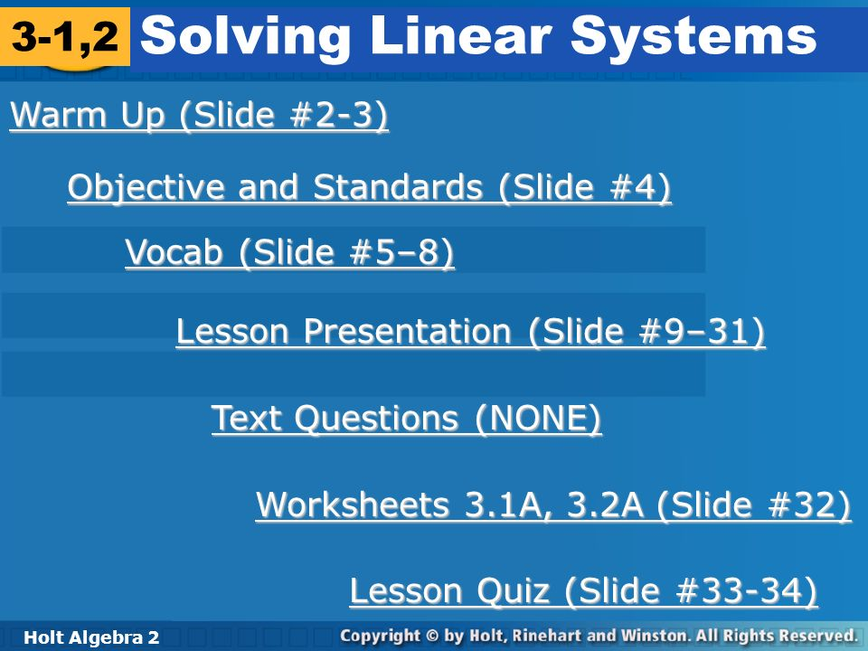 Solving Linear Systems - ppt download