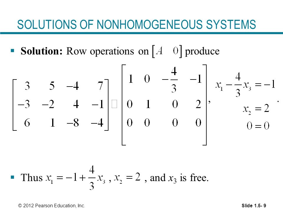 SOLUTIONS OF NONHOMOGENEOUS SYSTEMS