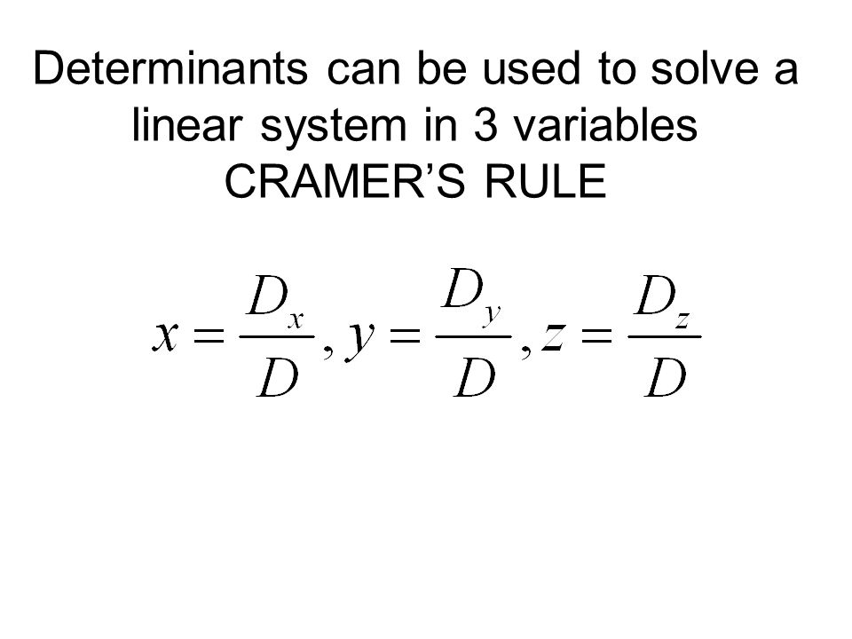 how to solve a linear system with 3 variables