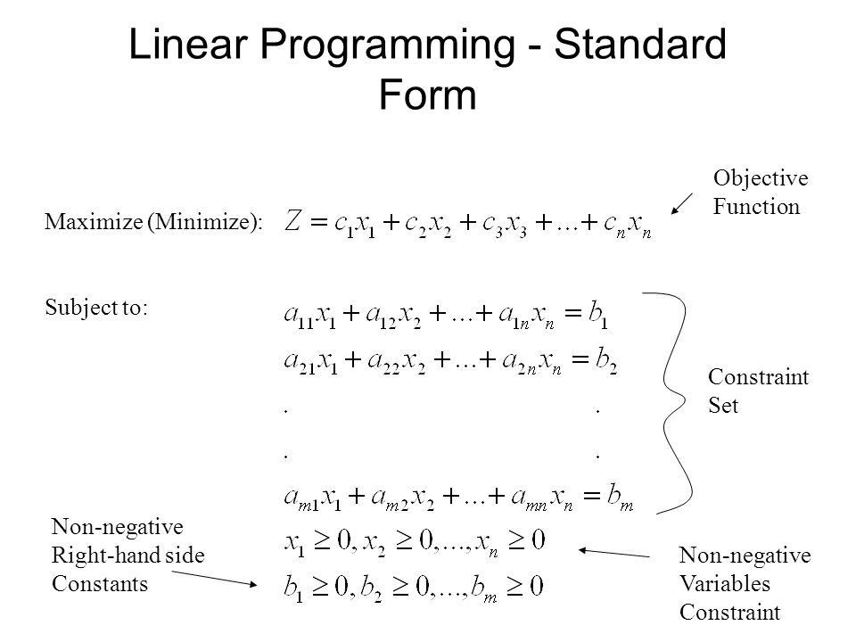 standard form variables  Linear Programming - Standard Form - ppt download