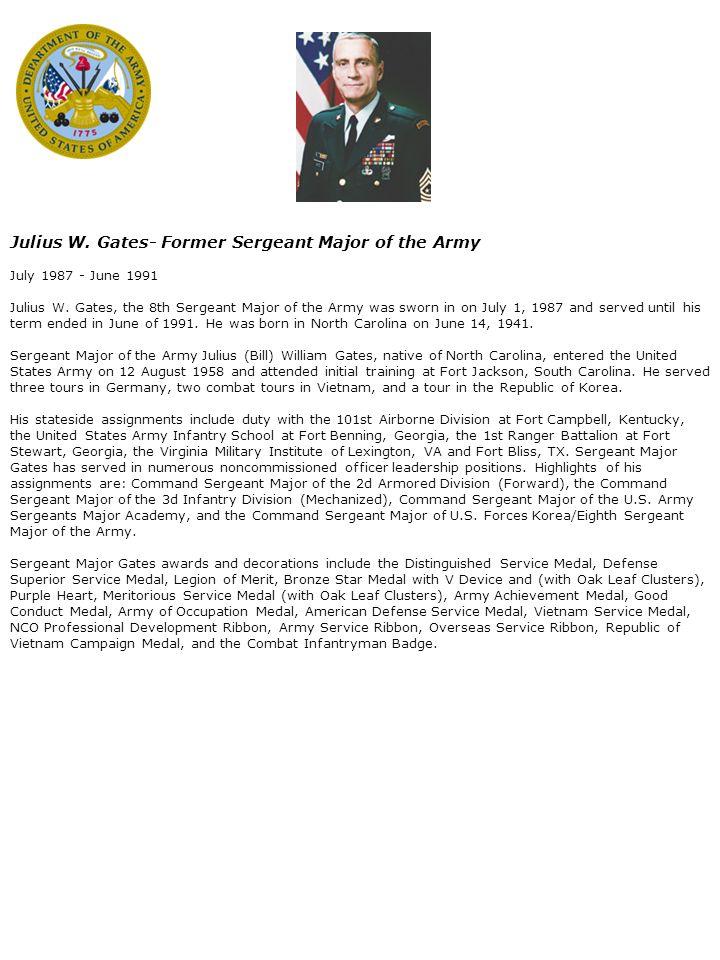William O  Wooldridge - Former Sergeant Major of the Army