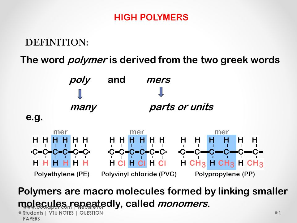 The Word Polymer Is Derived From Two Greek Words