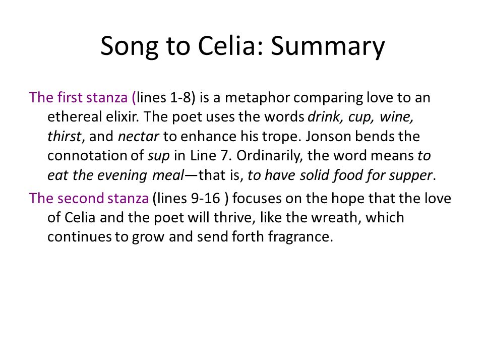 song to celia analysis line by line