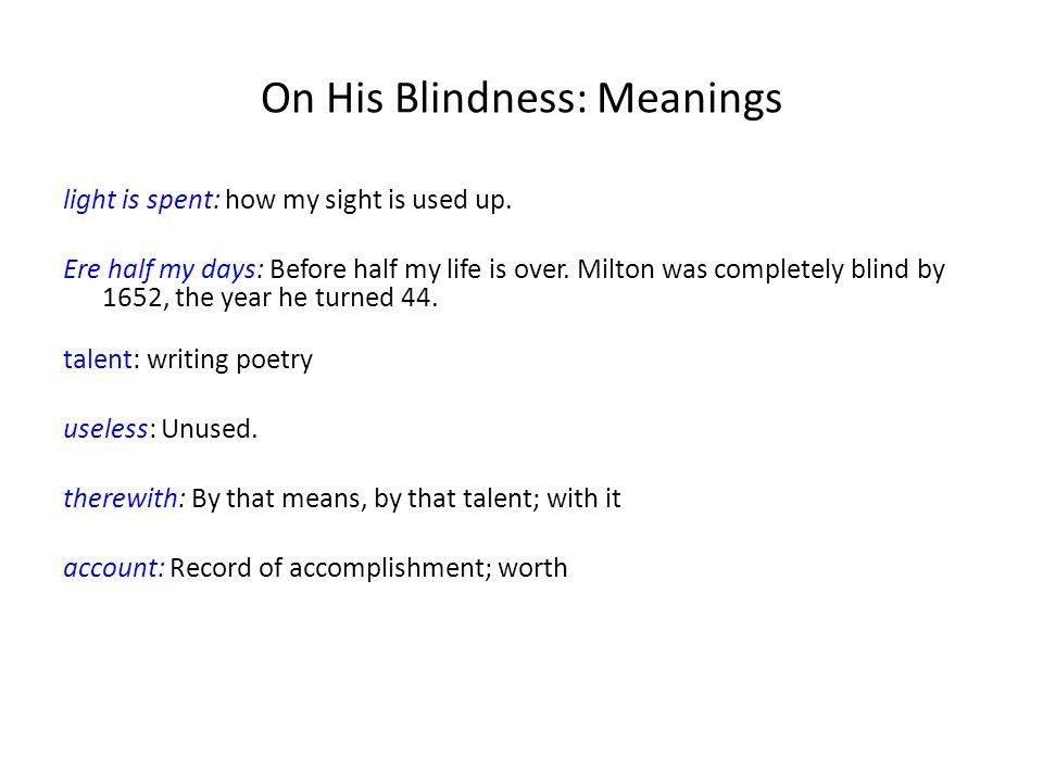 milton on his blindness analysis