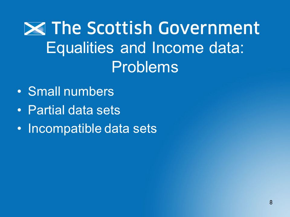 Equalities and Income data: Problems