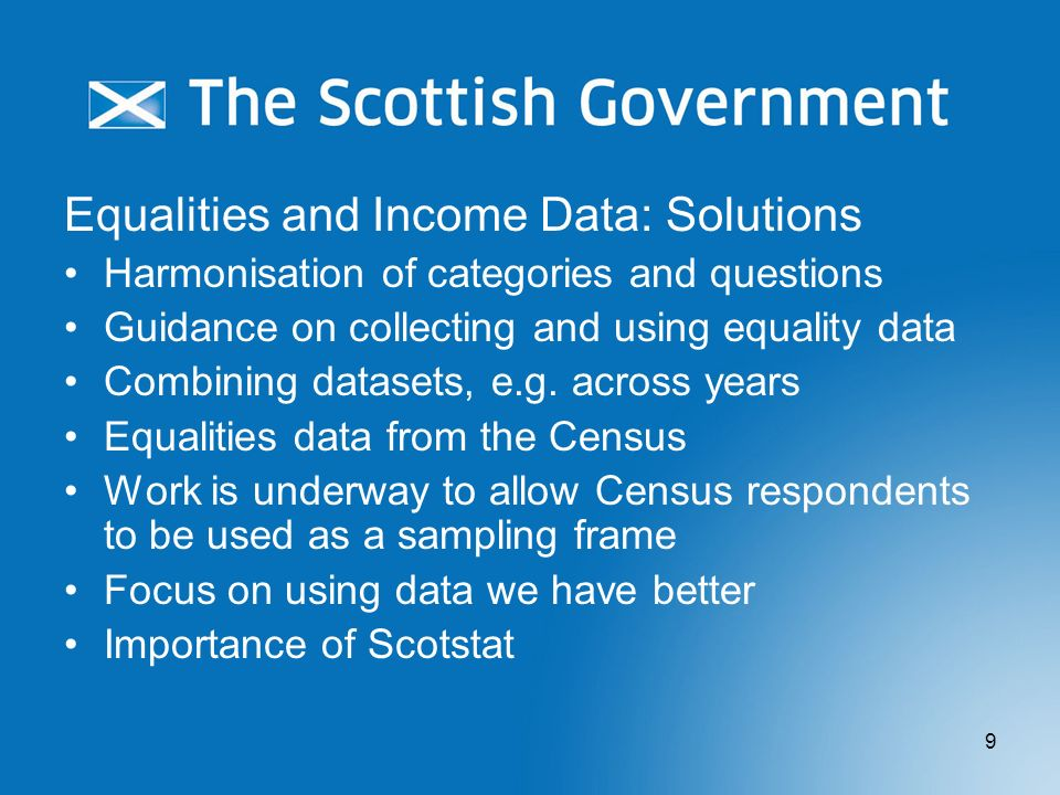 Equalities and Income Data: Solutions