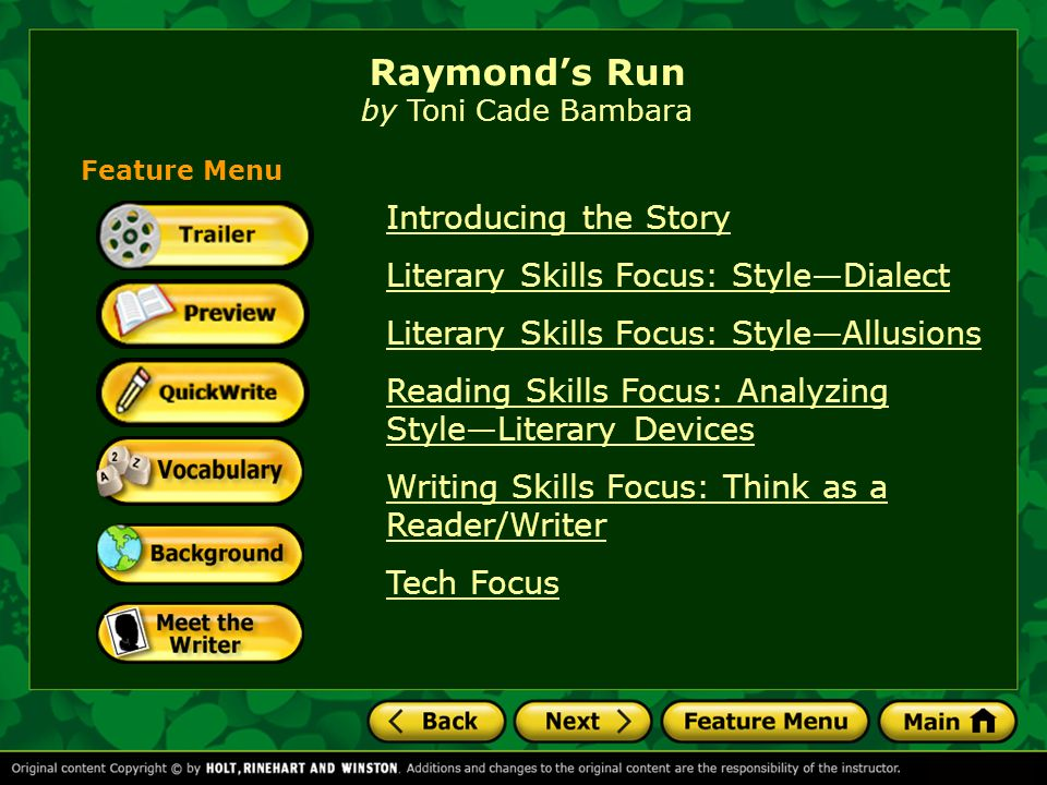 Raymonds run by toni cade bambara ppt download raymonds run by toni cade bambara ccuart Images