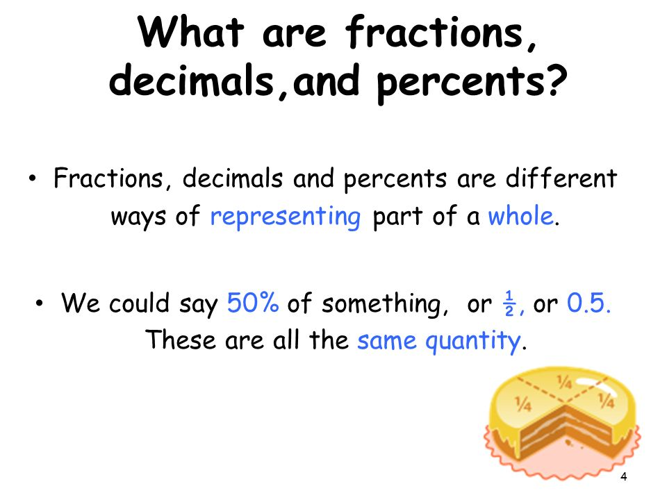 What are fractions, decimals,and percents