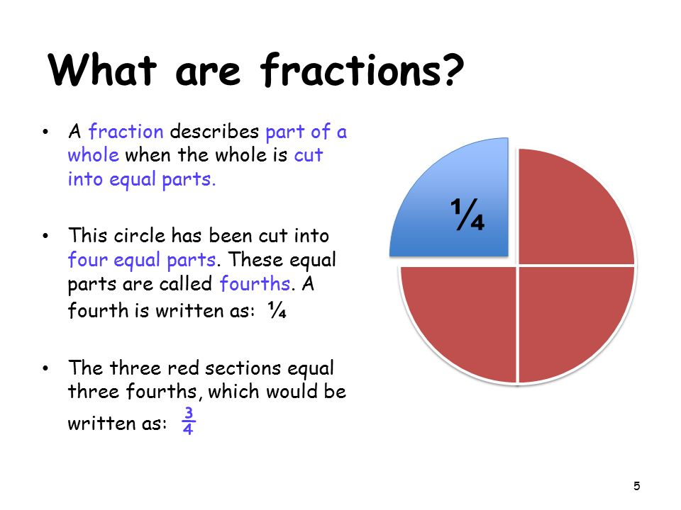 What are fractions A fraction describes part of a whole when the whole is cut into equal parts.