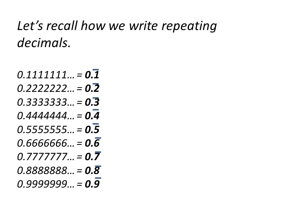 Let's recall how we write repeating decimals … =