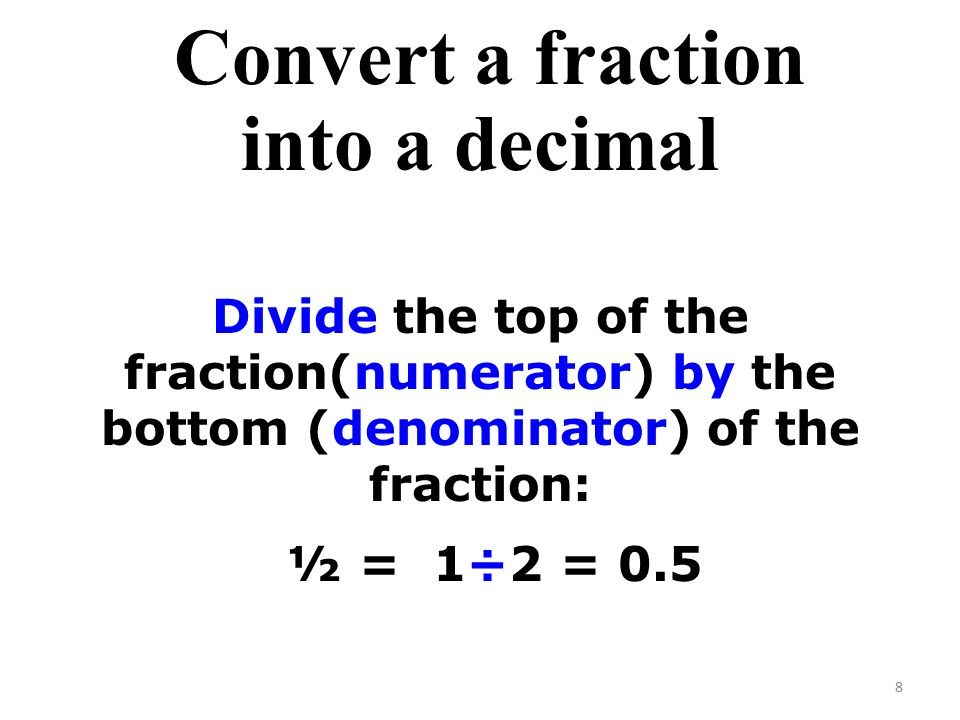 Convert a fraction into a decimal