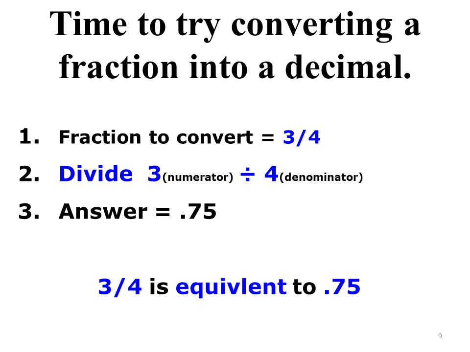 Time to try converting a fraction into a decimal.
