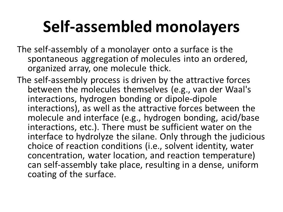 Self-assembled monolayers