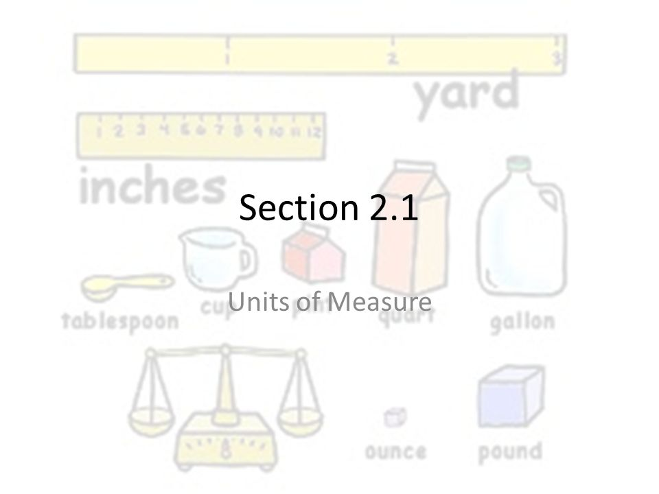 Section 2.1 Units of Measure