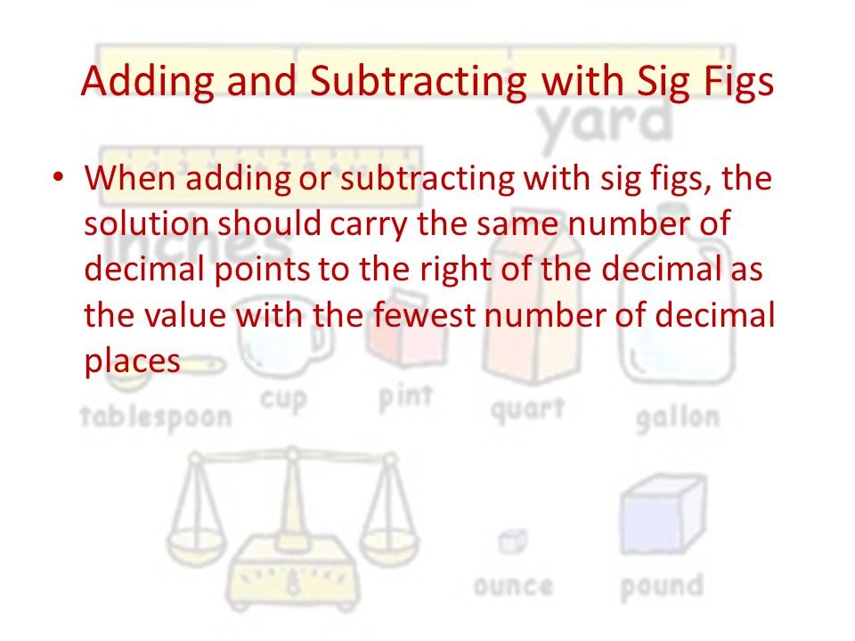 Adding and Subtracting with Sig Figs