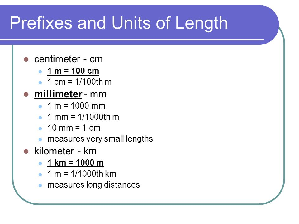 Prefixes and Units of Length