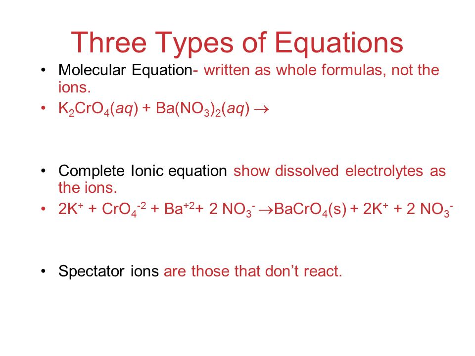 Three Types of Equations