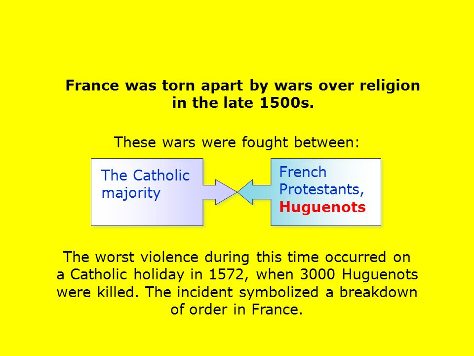 France was torn apart by wars over religion in the late 1500s.