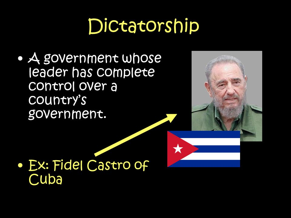 Dictatorship A government whose leader has complete control over a country's government.